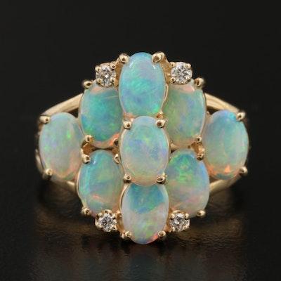 14K Opal and Diamond Split Shank Ring