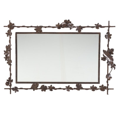 Contemporary Patinated Metal Mirror with Grapevine Surround