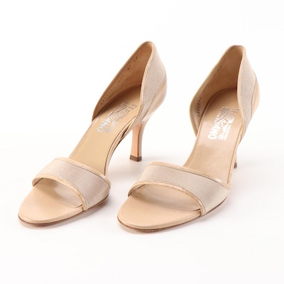 Salvatore Ferragamo Light Taupe Grosgrain and Beige Leather d'Orsay High Heels