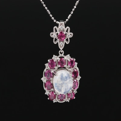 Sterling Silver Moonstone, Garnet and Cubic Zirconia Pendant Necklace