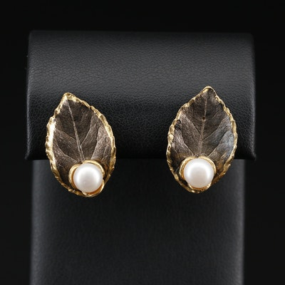 Sterling Silver Cultured Pearl Leaf Button Earrings