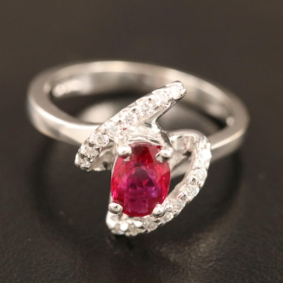 14K Ruby and Diamond Bypass Style Ring