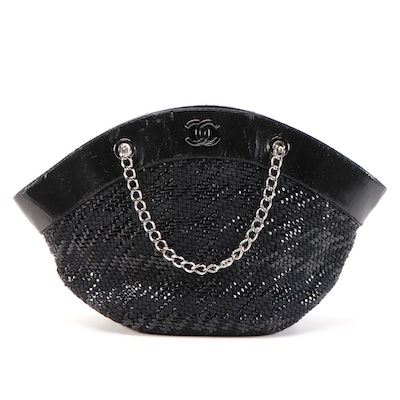 Chanel Black Leather/Patent Leather Woven Shoulder Bag