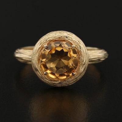 14K Gold Citrine Textured Ring
