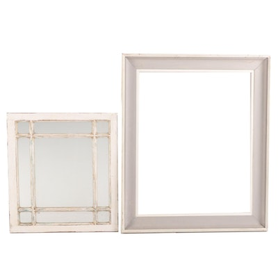 Painted Rectangular Frame with Divided Wood Framed Mirror