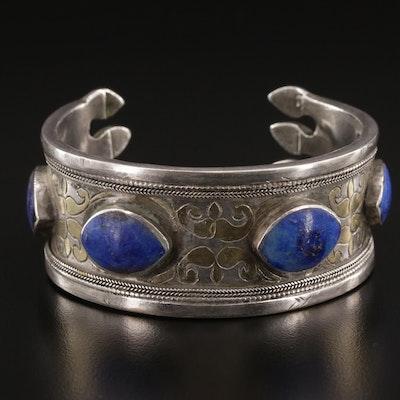 Vintage Turkmen 850 Silver and Lapis Lazuli Cuff Bracelet
