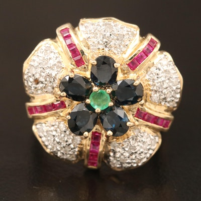 14K Emerald, Ruby, Sapphire, and Diamond Ring