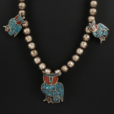 Western Style Sterling Inlaid Gemstone Owl Necklace