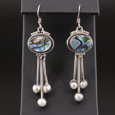 Sterling Silver Abalone and Pearl Dangle Earrings