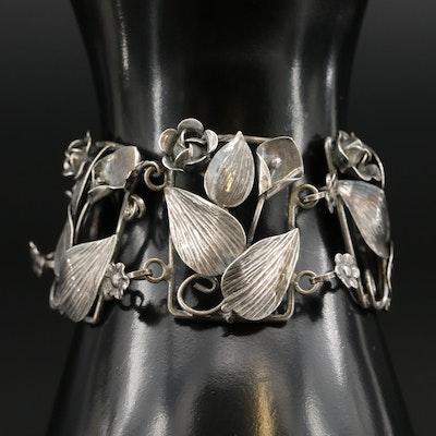 Vintage Carr Craft Sterling Silver Foliate Link Bracelet