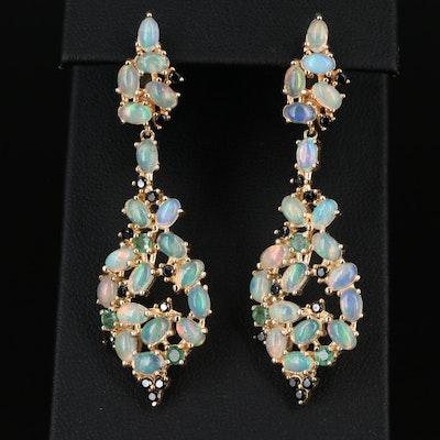 Sterling Dangel Earrings with Opal, Emerald and Cubic Zirconia