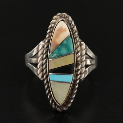 Ray Bennett Navajo Diné Sterling Inlay Ring with Turquoise and Mother of Pearl