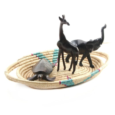 Coiled Basket Tray with Hand Carved Animal Figurines