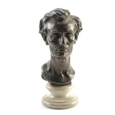 Abraham Lincoln Patinated Cast Metal Bust after Artist Leonard W. Volk, 1960s