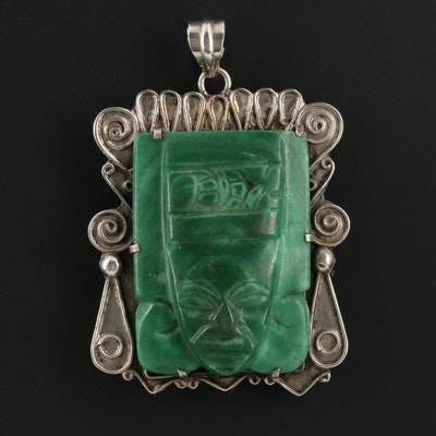 Mexican Sterling Silver Carved Calcite Pendant