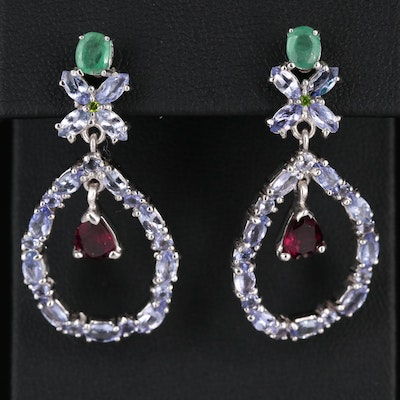 Sterling Silver Emerald, Tanzanite and Rhodolite Garnet Earrings