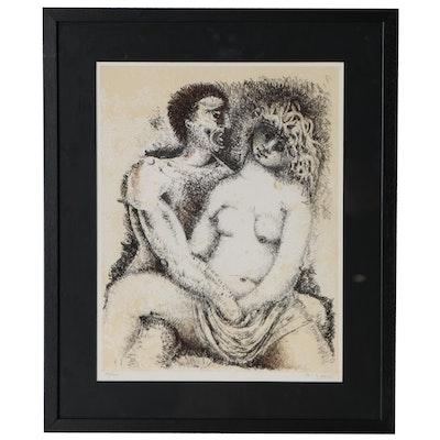 """Federico Righi Lithograph """"Con Donna Diverse Arti Diverse"""", 1977"""