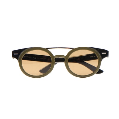 ETRO ET642S Olive Green Black Horn-Rimmed Sunglasses with Case and Box