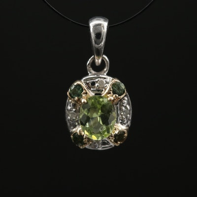 Sterling Silver Peridot, Diopside, and Diamond Pendant With 14K Accents