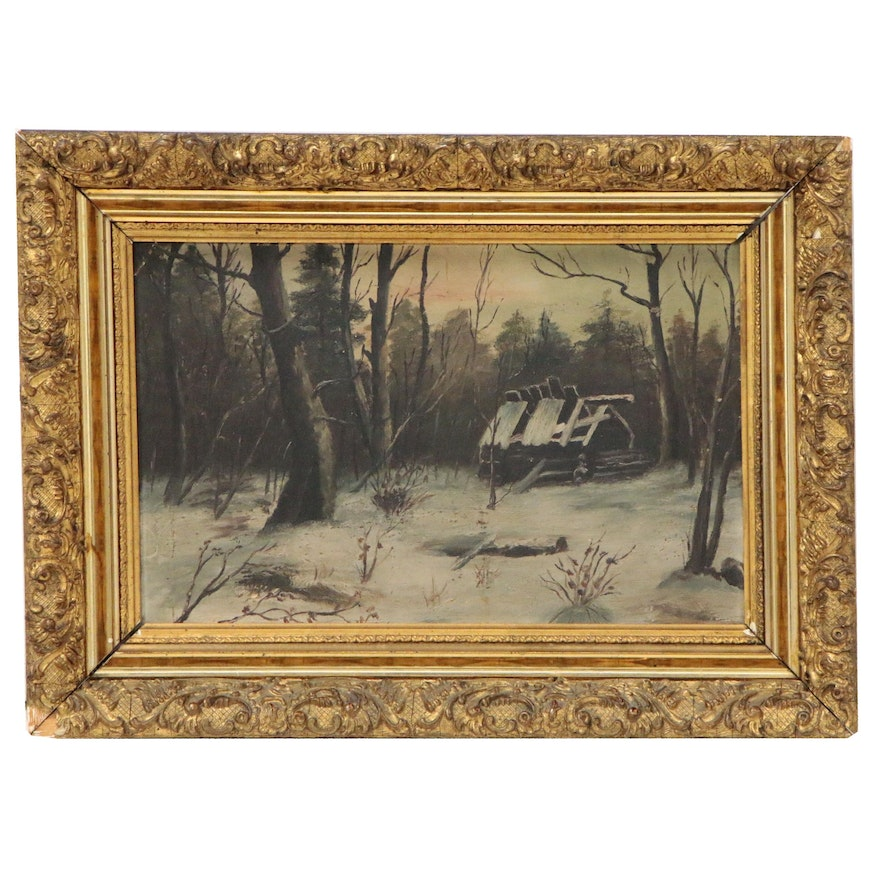Landscape Oil Painting with Barn, Early 20th Century