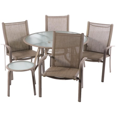Patio Dining Set with Sunbrella Sling Mesh Back Chairs