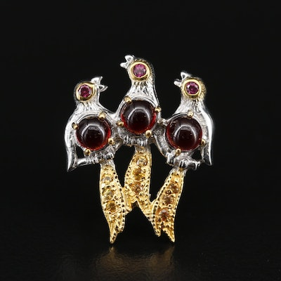 Sterling Silver Garnet, Rhodolite Garnet and Sapphire Bird Brooch