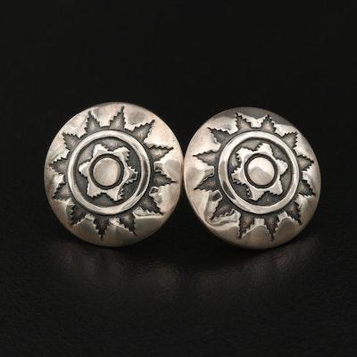 Western Style Sterling Silver Button Earrings
