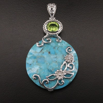 Sterling Silver, Peridot and Turquoise Pendant
