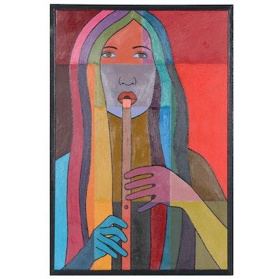 """Farnoosh Lanjani Oil Painting """"Flute Player V"""", 2005"""