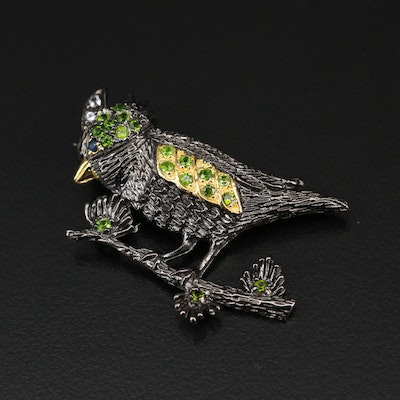 Sterling Silver Diopside, Sapphire and Topaz Bird Brooch