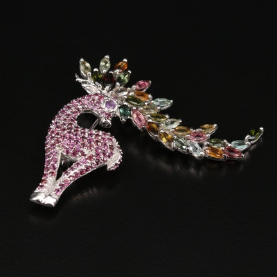 Sterling Silver Deer Brooch with Tourmaline, Amethyst and Rhodolite Garnet