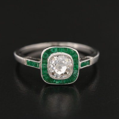 Art Deco Platinum Diamond and Emerald Halo Ring