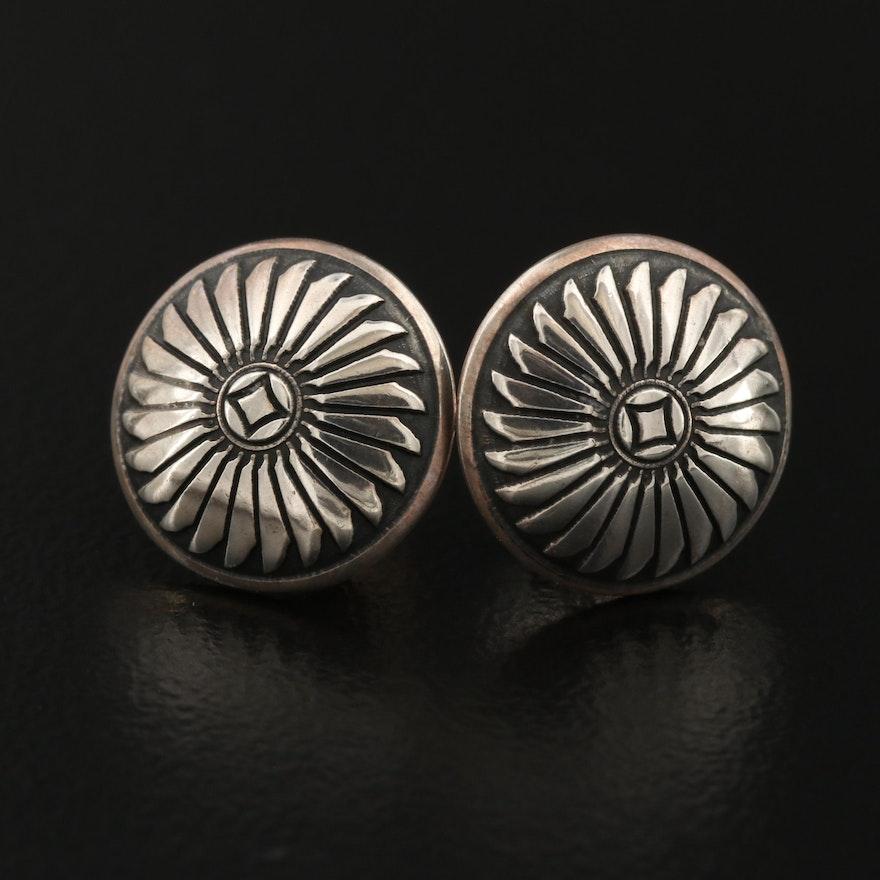 Southwestern Sterling Button Earrings