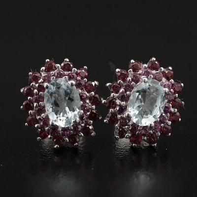 Sterling Silver Aquamarine and Garnet Earrings