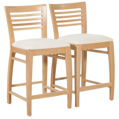 Pair of Blonde Wood Counter Stools in Natural Finish