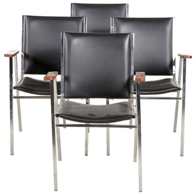 Four Modern Chrome and Black Faux Leather Armchairs, Mid-20th Century