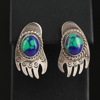 Tim Guerro Navajo Diné Sterling Silver Imitation Azurmalachite Bear Paw Earrings