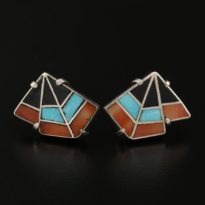 Southwestern Sterling Coral, Black Onyx and Turquoise Earrings