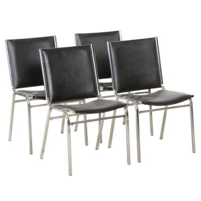 Modern Chrome and Black Faux Leather Side Chairs, Mid-20th Century