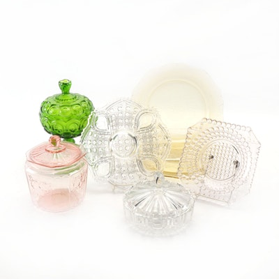 Federal Depression Glass Dishes with L. E. Smith Green Compote and Other Dishes