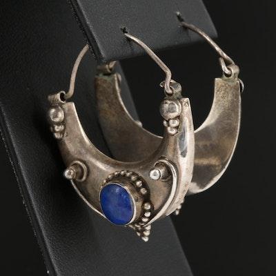 Sterling Silver Lapis Lazuli Hoop Earrings