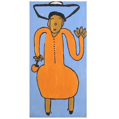 "Ruby C. Williams Folk Art Acrylic Painting ""My Name is Ms. Putiton Baby"""