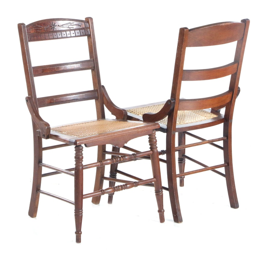Aesthetic Movement Walnut and Cane Seat Side Chairs, Late 19th Century
