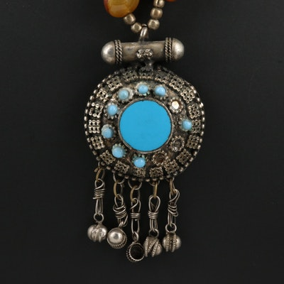 Turquoise, Agate and Resin Necklace