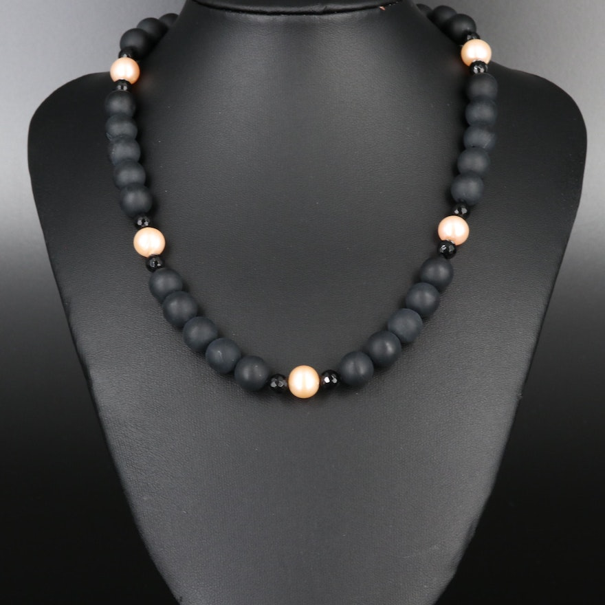 Sterling Silver Onyx, Pearl and Black Onyx Necklace