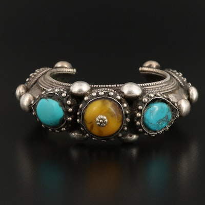 Mutton Fat Amber and Turquoise Cuff Bracelet