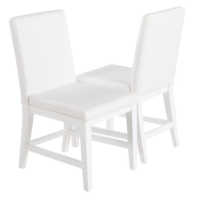 Pair of Flexsteel Contemporary Vinyl-Upholstered White Side Chairs