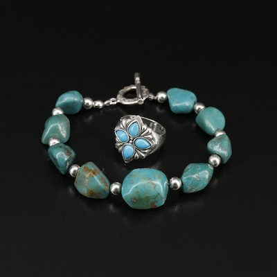 Sterling Silver Turquoise Beaded Bracelet Featuring Relios Ring