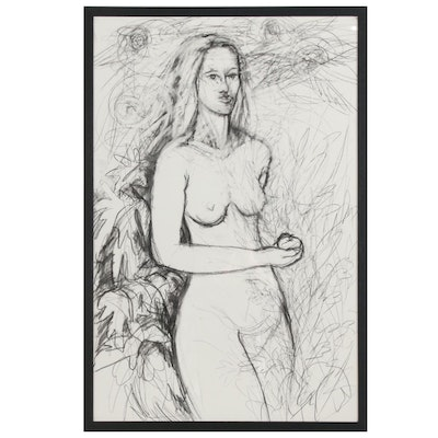 Carol Brockman Charcoal Drawing of Eve with Apple