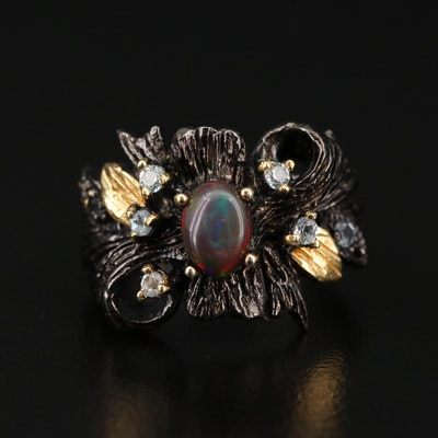 Sterling Opal Ring with Topaz Accents